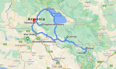 Armenia Great Escape Tour map